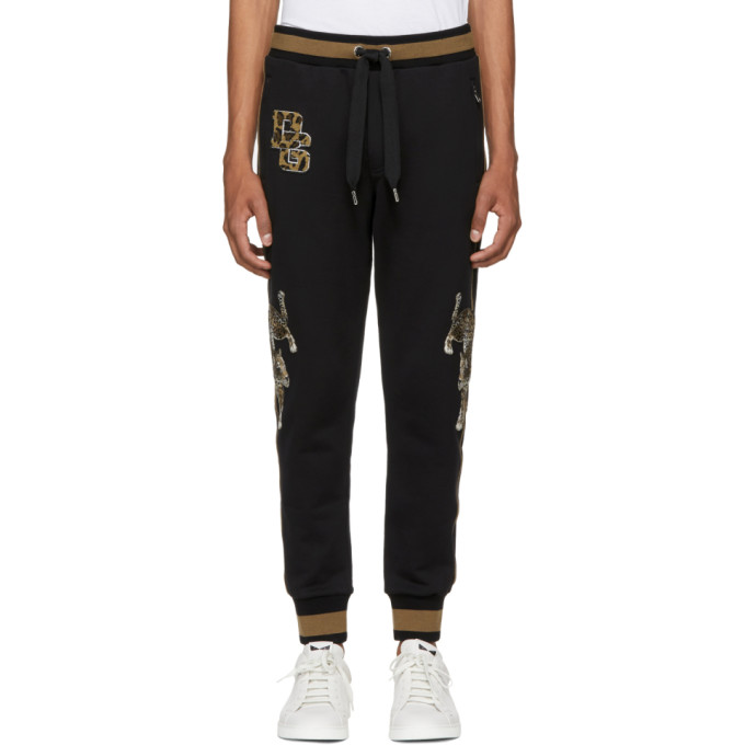 Image of Dolce & Gabbana Black & Brown Embroidered Lounge Pants