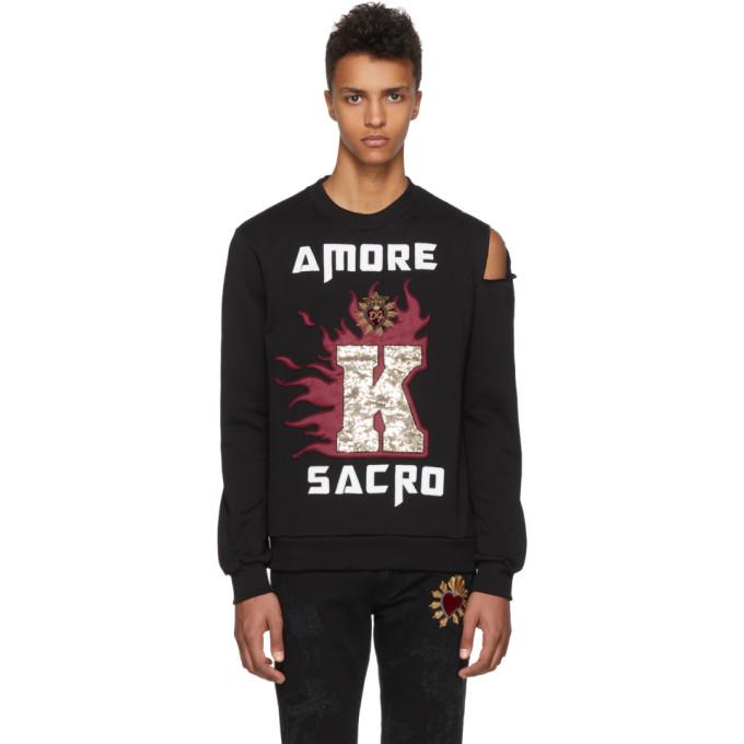 Image of Dolce & Gabbana Black 'Amore' Slit Sweatshirt