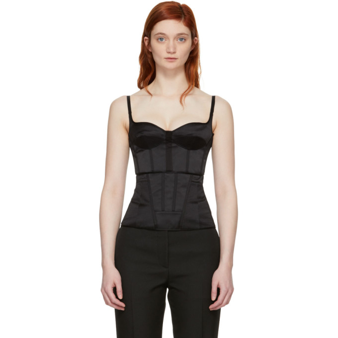 Image of Olivier Theyskens Black Silk Tanepa Corset Top