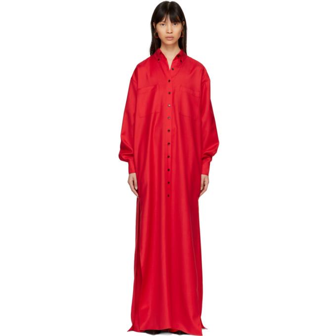 Image of Kwaidan Editions Red Floor-Length Shirt Dress