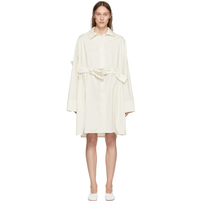 Image of Roberts | Wood Off-White Bow Shirt Dress