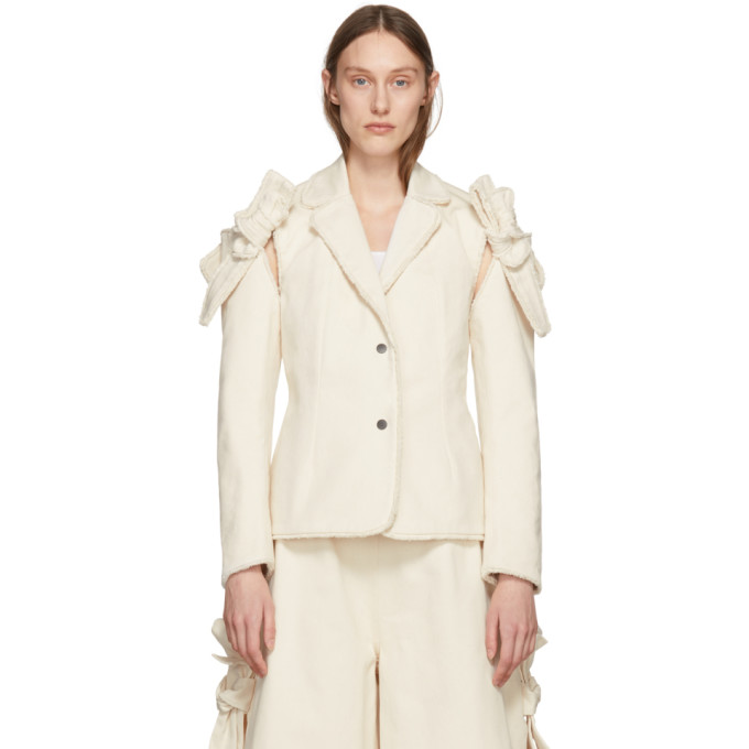 Image of Roberts | Wood Off-White Twill Removable Sleeves Blazer