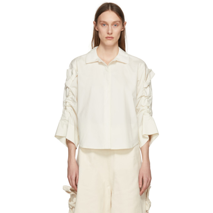 Image of Roberts | Wood Off-White Bow Sleeve Shirt