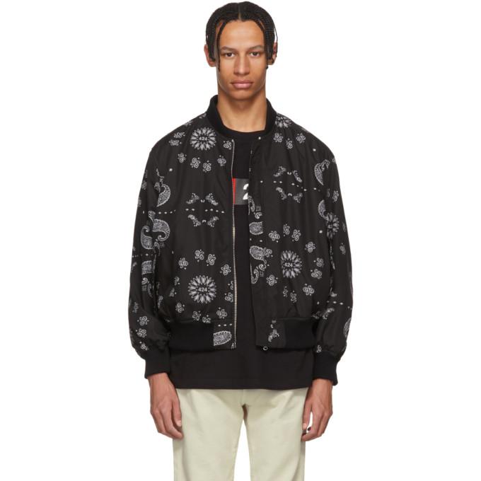 424 male 424 reversible black bomber jacket