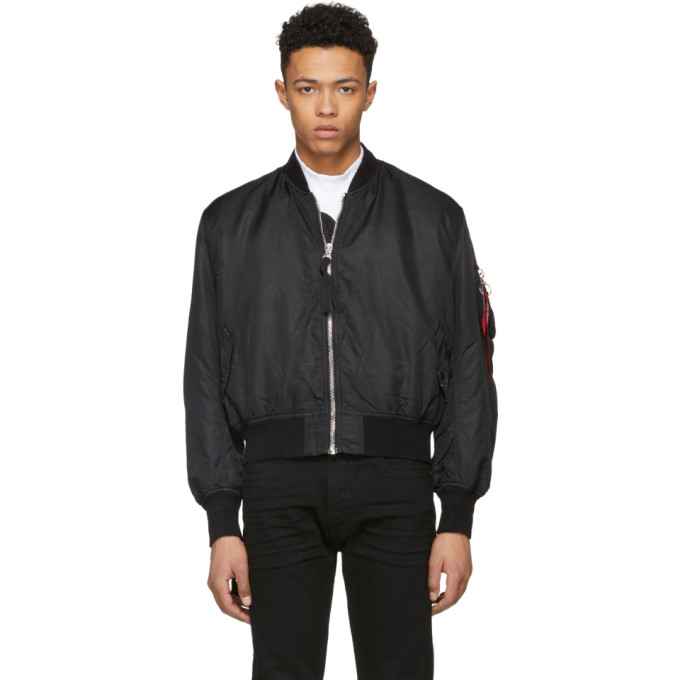 424 male 424 black alpha industries edition ma1 printed bomber jacket