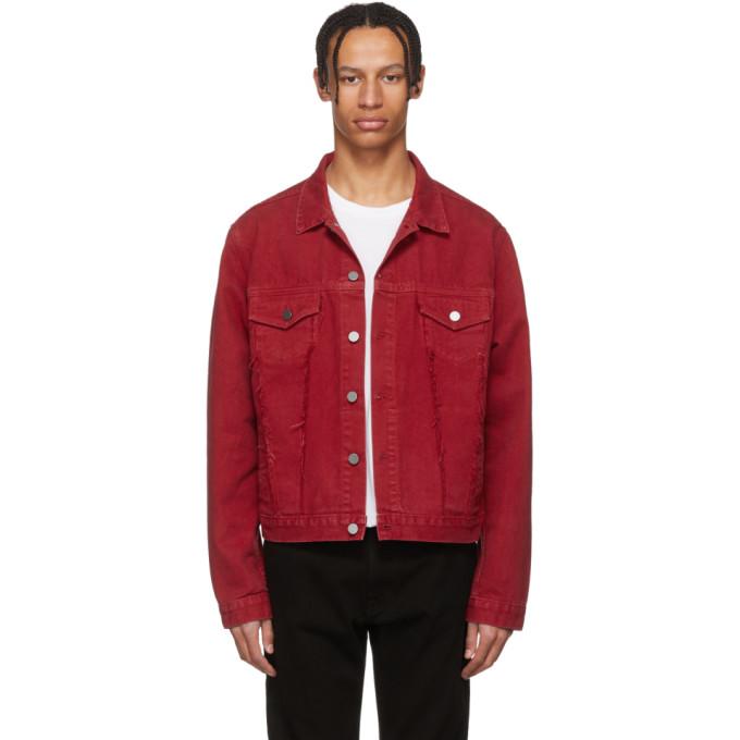 424 male 424 red denim marshall trucker jacket