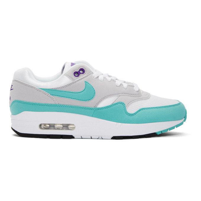 Nike White & Blue Air Max 1 Anniversary Sneakers