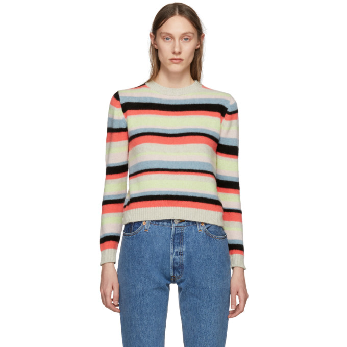The Elder Statesman SSENSE Exclusive Multicolor Cashmere Simple Striped Sweater