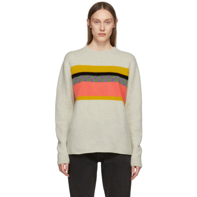 Image of The Elder Statesman Beige Cashmere Gofa Stripe Sweater