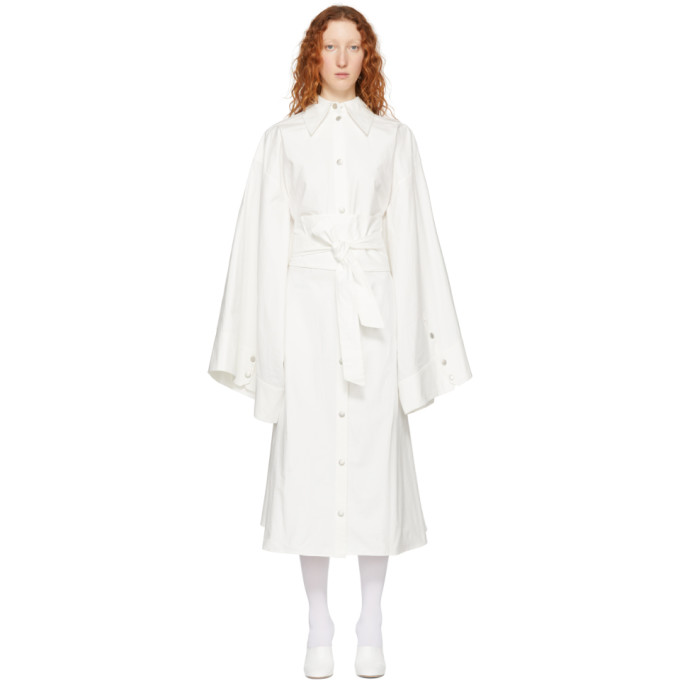Image of A.W.A.K.E. White Obi Belt Shirt Dress
