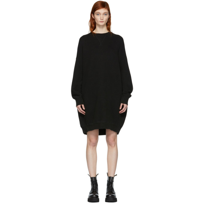 R13 Black Grunge Sweatshirt Dress