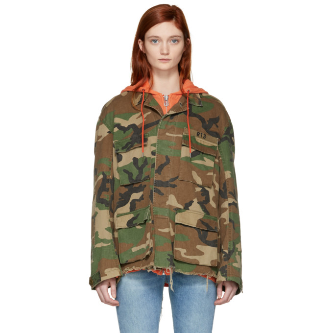 R13 Green Camo Abu Hooded Jacket