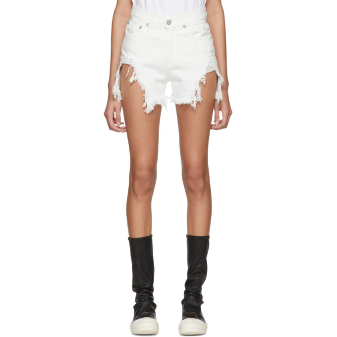 R13 White Shredded Slouch Shorts