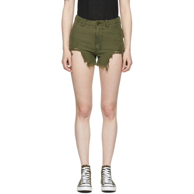 R13 Green Distressed Camp Shorts