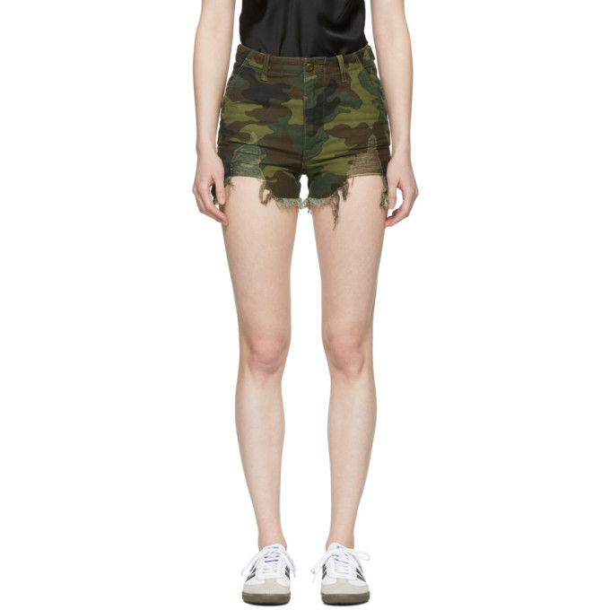 R13 Green Camo Distressed Camp Shorts
