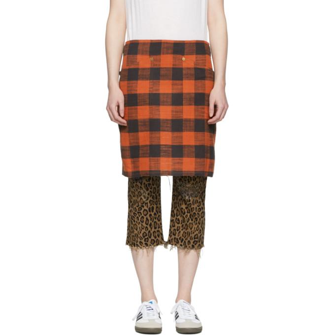 R13 Red Buffalo Check Apron Skirt