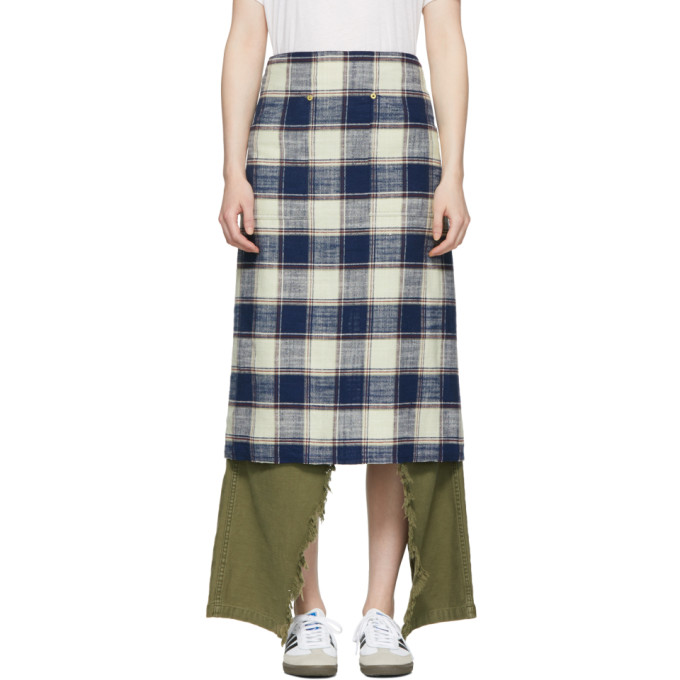 R13 Navy & Ecru Plaid Apron Skirt