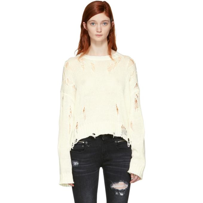 R13 Off-White Shredded Side Slit Sweater