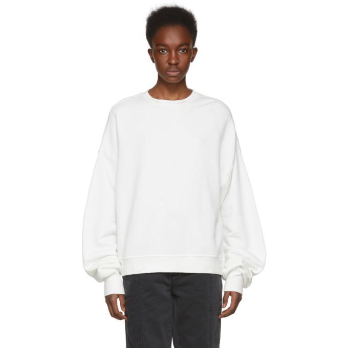 R13 White Pleated Sleeve Sweatshirt