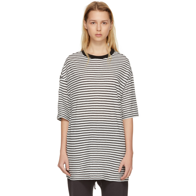 R13 Black & White Striped Boyfriend T-Shirt