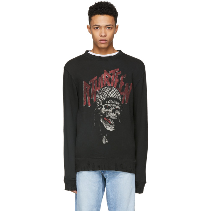 Image of R13 Black Battle Punk Vintage Sweatshirt