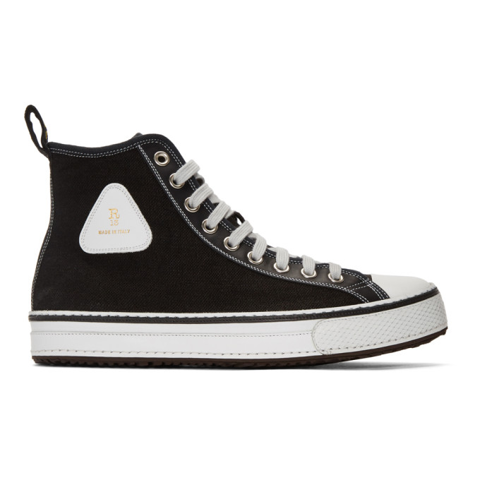 Image of R13 Black Canvas High-Top Sneakers