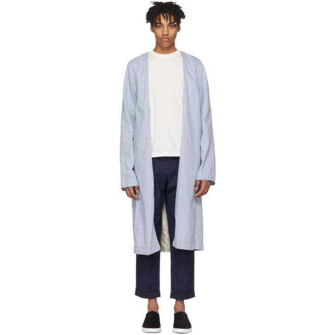 Image of Wheir Bobson Blue Denim Robe Coat