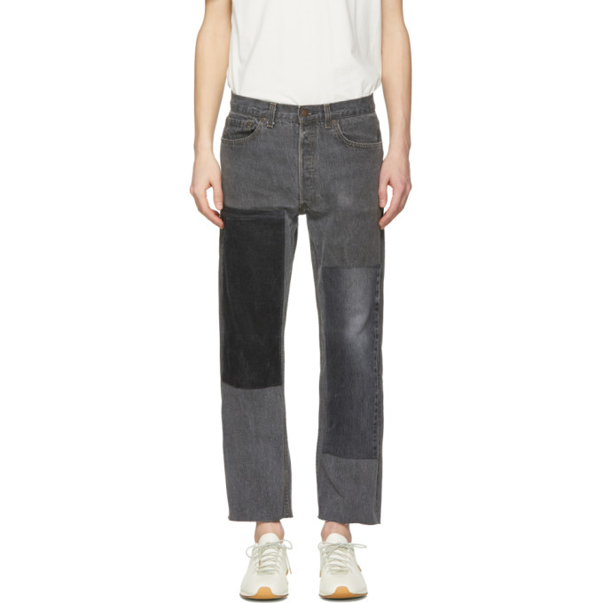 Image of B Sides Black Cropped Large Two-Patch Jeans