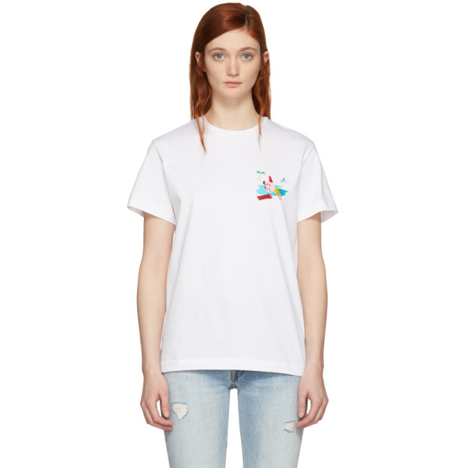 Image of Carne Bollente White 'Baise Sur La Plage' Embroidered T-Shirt
