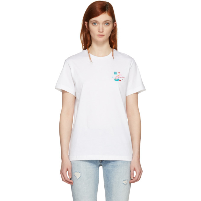 Image of Carne Bollente White 'Brasse Coulée' Embroidered T-Shirt