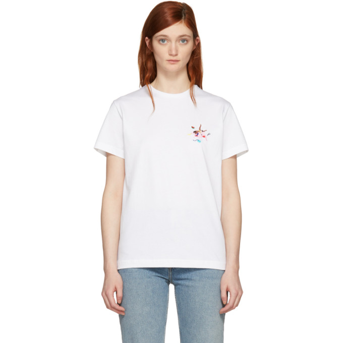 Image of Carne Bollente White 'La Troisieme Bi-Mension' Embroidered T-Shirt
