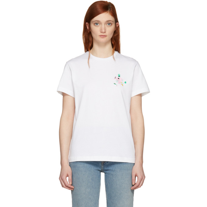 Image of Carne Bollente White 'Cunni on the Lawn' Embroidered T-Shirt