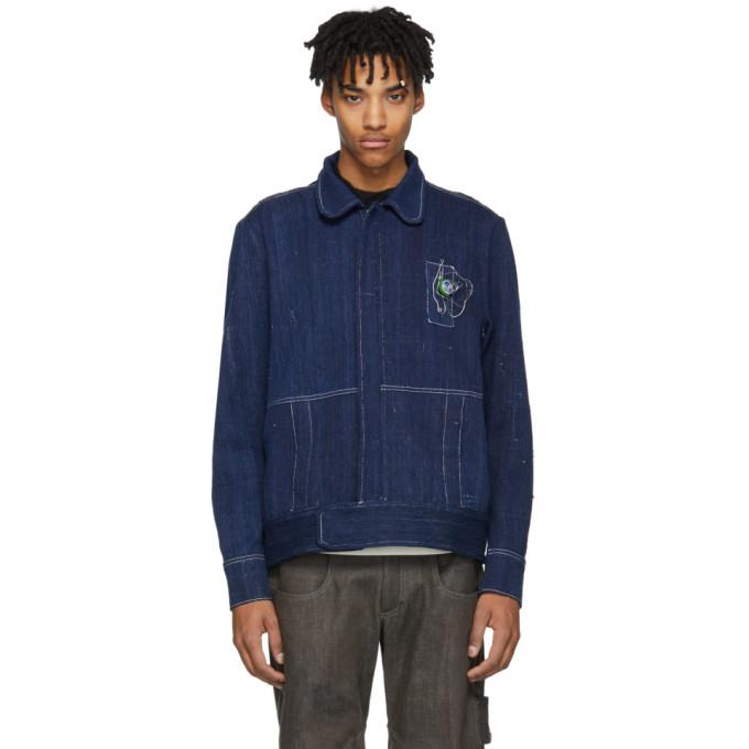 Image of St-Henri SSENSE Exclusive Blue Denim Pompiste Jacket