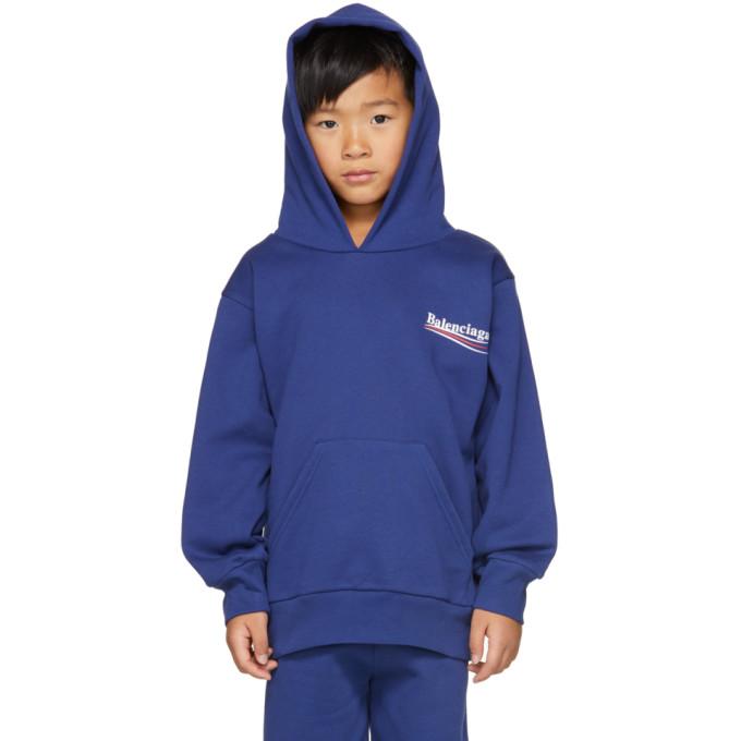 Image of Balenciaga Boy Blue Campaign Logo Hoodie