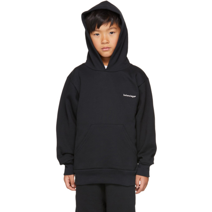 Image of Balenciaga Boy Black Logo Hoodie