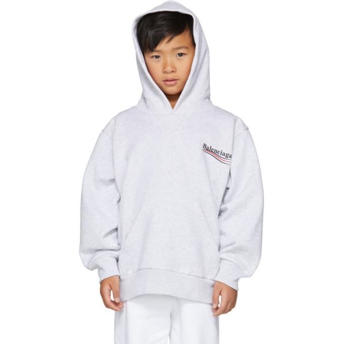 Image of Balenciaga Boy Grey Campaign Logo Hoodie