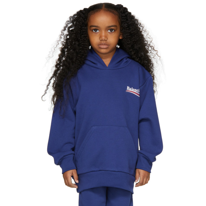 Image of Balenciaga Girl Blue Campaign Logo Hoodie
