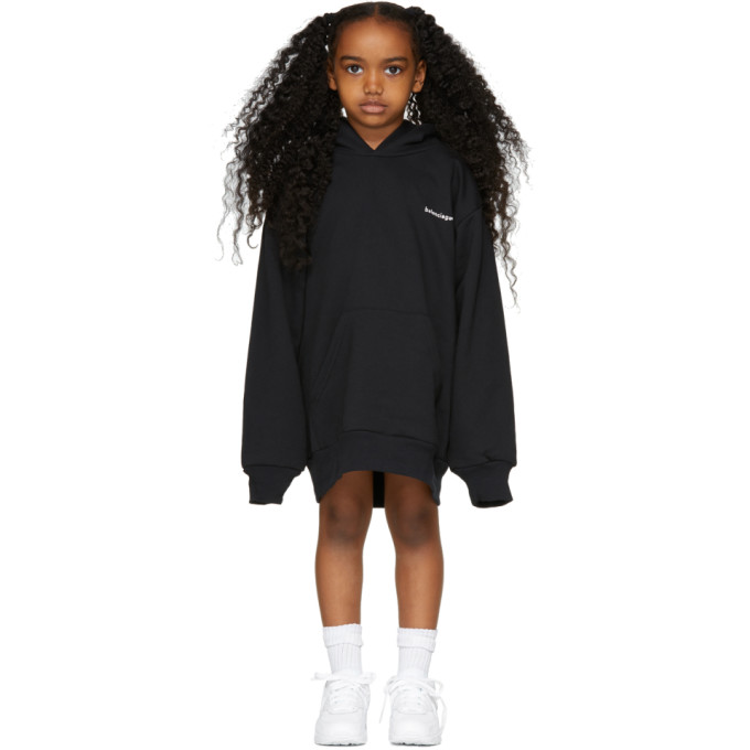 Image of Balenciaga Girl Black Oversized Logo Hoodie