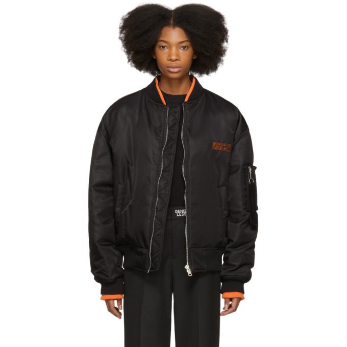 ADER error Reversible Black Down Logo Bomber Jacket