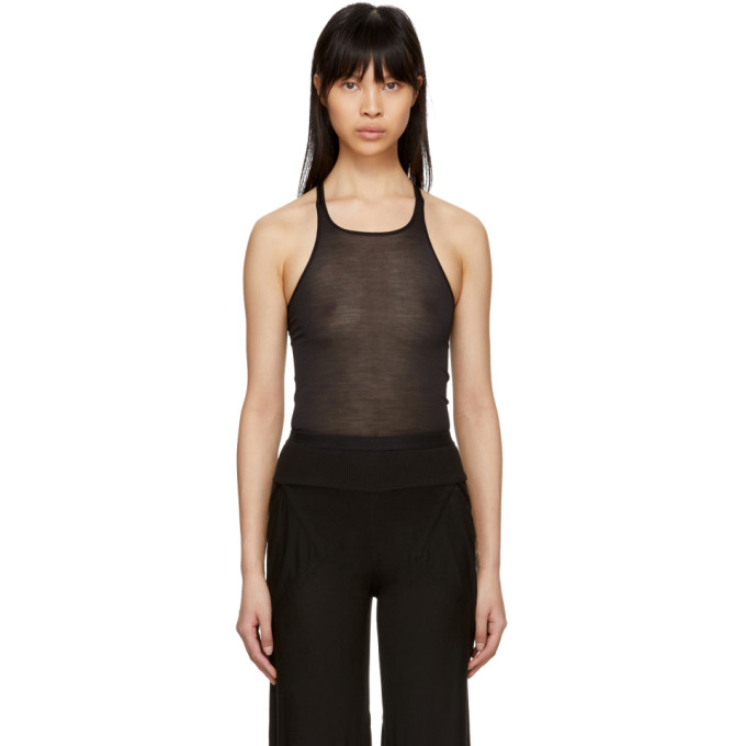 Image of Rick Owens Lilies Black Silk Tank Top