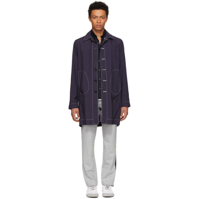 Image of Daniel W. Fletcher Navy Lightweight Tailored Mac Coat
