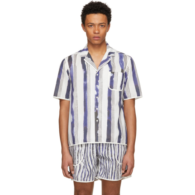 Image of Daniel W. Fletcher White & Blue Bold Stripe Pyjama Shirt