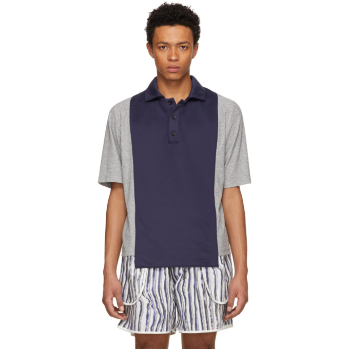 Image of Daniel W. Fletcher Navy & Grey Panelled Polo