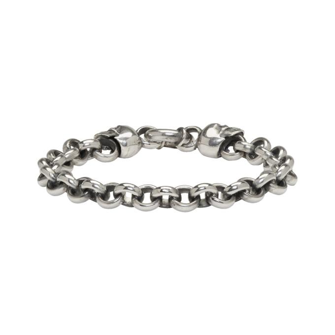 Image of Ugo Cacciatori Silver Jail Chain & Skulls Bracelet