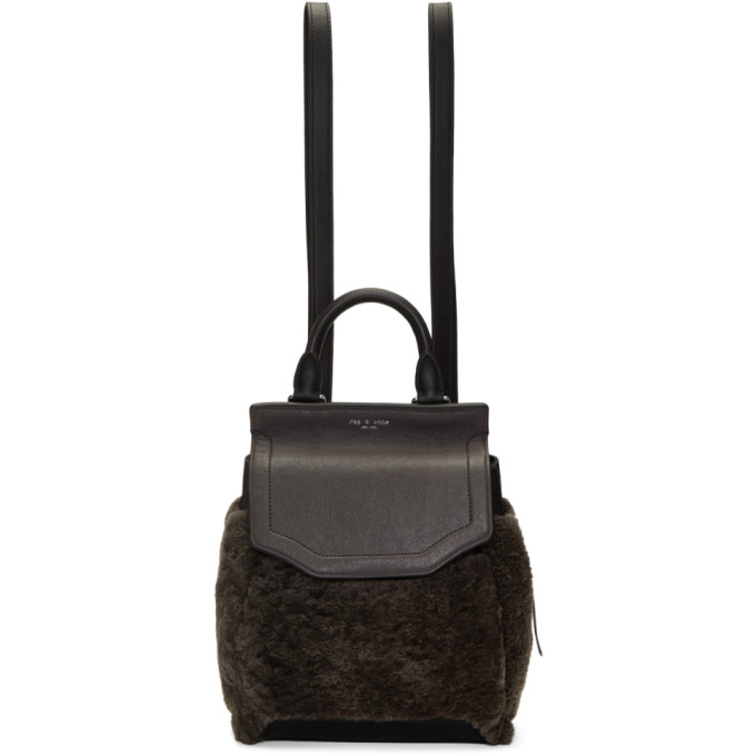 Rag & Bone Grey Shearling Small Pilot II Backpack