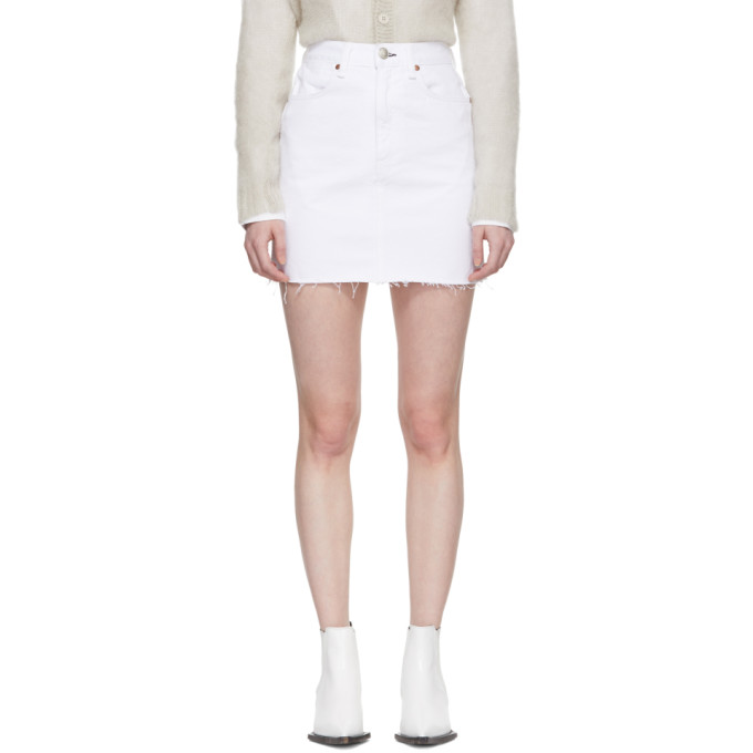 Rag & Bone White Moss Denim Miniskirt