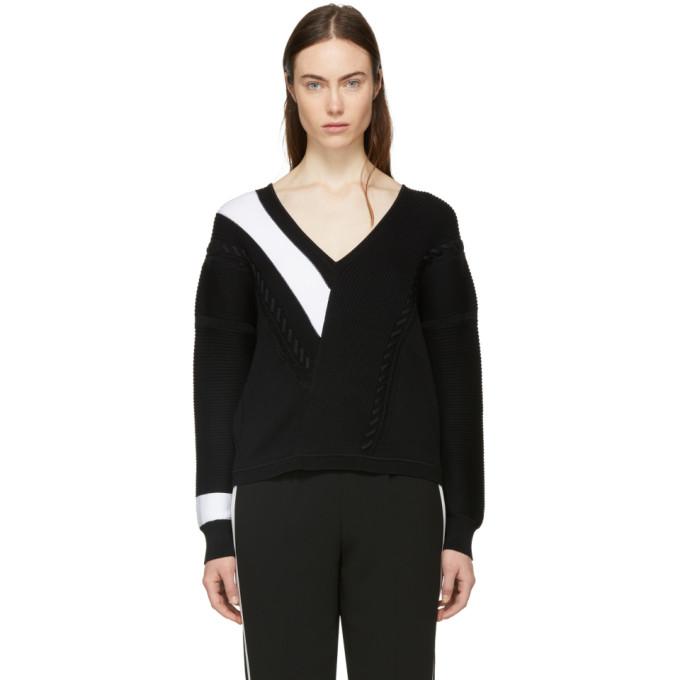 Rag & Bone Black & White Cricket V-Neck Sweater