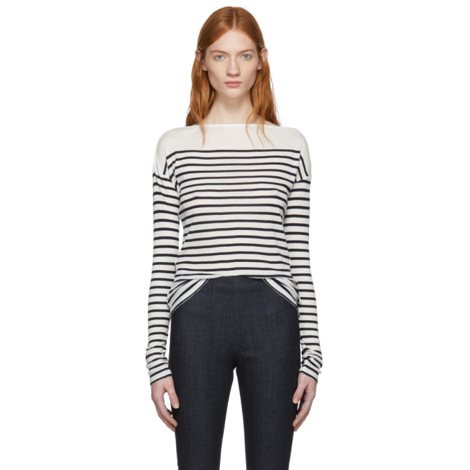 Rag & Bone Ivory & Navy Long Sleeve Striped Madison T-Shirt