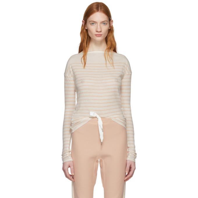 Rag & Bone Ivory & Pink Long Sleeve Striped Madison T-Shirt