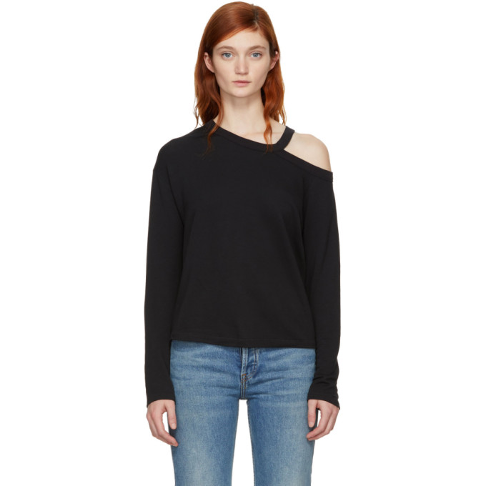 Rag & Bone Black Long Sleeve Sky Cut-Out T-Shirt